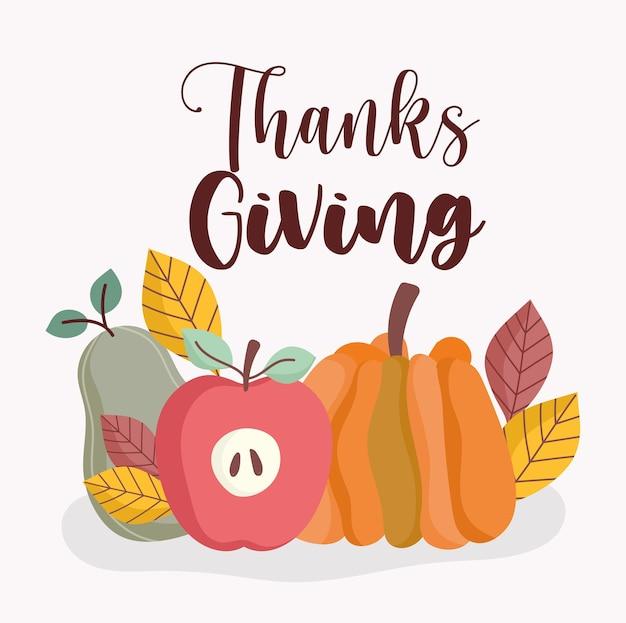 Felice ringraziamento fresco raccolto zucca mela pera e foglie autunnali