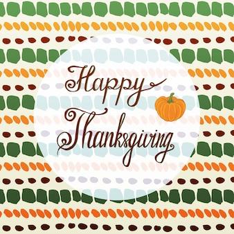 Biglietto di auguri di ringraziamento felice con zucca e sfondo autunno handmade.