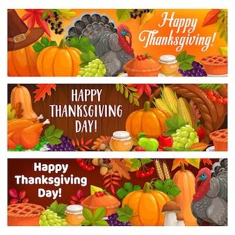 Felice festa del ringraziamento tacchino raccolto autunnale
