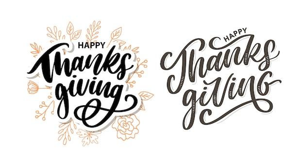 Felice ringraziamento lettering calligrafia set