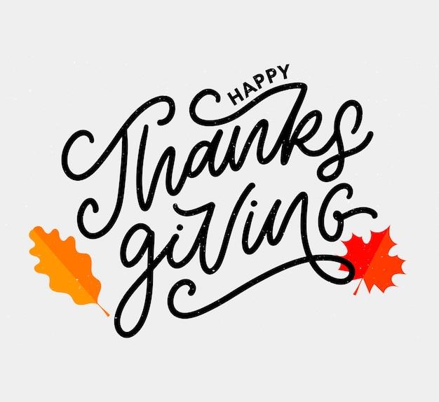 Felice ringraziamento lettering calligrafia testo pennello vettore