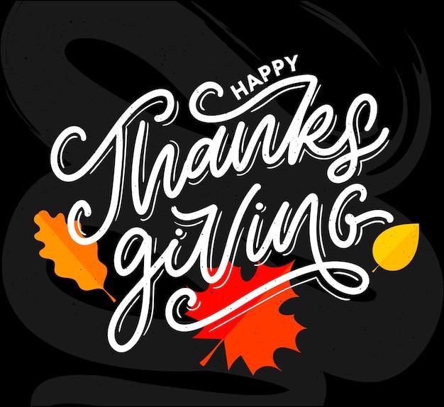 Felice ringraziamento lettering pennello testo calligrafia