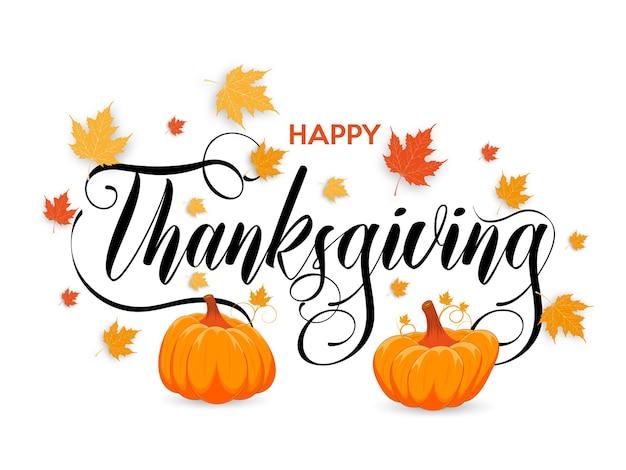 Felice poster del ringraziamento con zucche e foglie d'acero biglietto di auguri per il giorno del ringraziamento