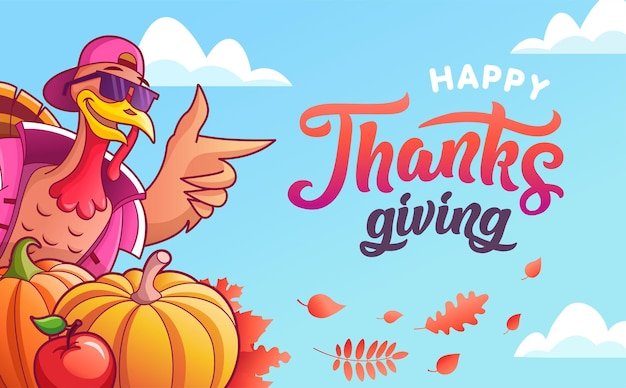 Felice ringraziamento. bandiera di vettore. tacchino fresco in bicchieri, zucche, mele. foglie d'autunno, scritte