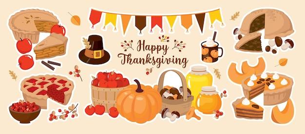 Insieme di vettore felice del ringraziamento. torta di zucca, mela, funghi, torta di frutti di bosco, cestino, miele.