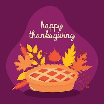 Buon ringraziamento con torta di mele e foglie secche intorno