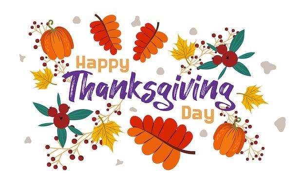 Buon ringraziamento con foglie autunnali zucche e mirtilli rossi decorato con foglie di acero e frassino
