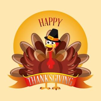 Felice giorno del ringraziamento con cartone animato di tacchino con cappello, carta di ringraziamento