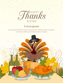 Buon ringraziamento con verdure e foglie colorate.