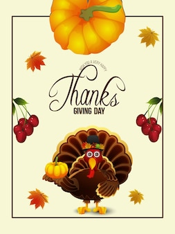 Felice giorno del ringraziamento illustrazione di sfondo dell'uccello di tacchino