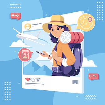 Illustrazione di concetto di social media felice giornata del turismo