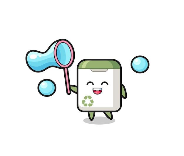 Felice cestino della spazzatura cartone animato che gioca a bolle di sapone, design in stile carino per maglietta, adesivo, elemento logo