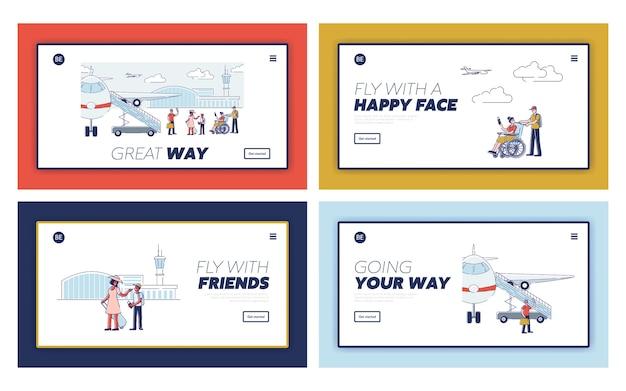 Pagine di destinazione di viaggio felici con passeggeri dei cartoni animati prima di salire a bordo di aerei e di partenza. viaggiatori del fumetto con passaporti e bagagli
