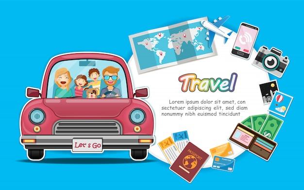 Il viaggiatore e il cane felici sull'automobile rossa del tronco con il punto di registrazione viaggiano intorno al mondo.