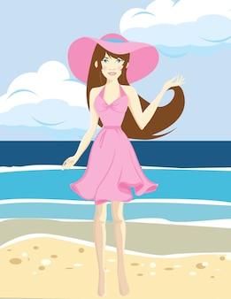 La donna felice viaggiatrice in abito rosa si gode le sue vacanze in spiaggia tropicale