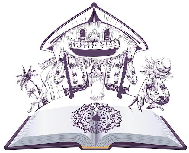 Illustrazione felice del libro aperto di festa indiana di ugadi.