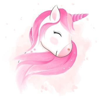 Illustrazione dell'acquerello di unicorno felice