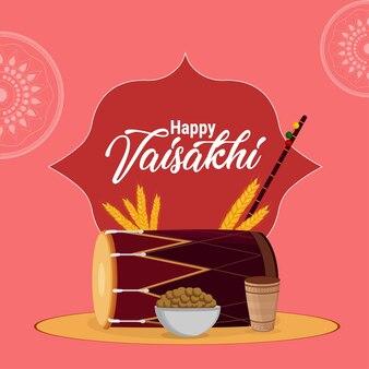 Felice celebrazione vaisakhi design piatto con tamburo