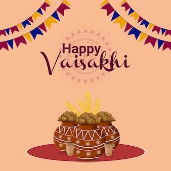 Cartolina d'auguri felice festival indiano vaisakhi