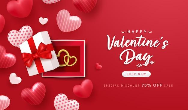Buon san valentino sfondo o banner con elementi adorabili.