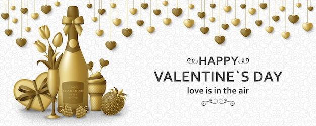 Felice giorno di san valentino sfondo con champagne