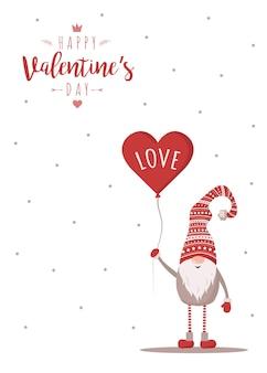 Felice giorno di san valentino carta con gnomo in cappello rosso con mongolfiera