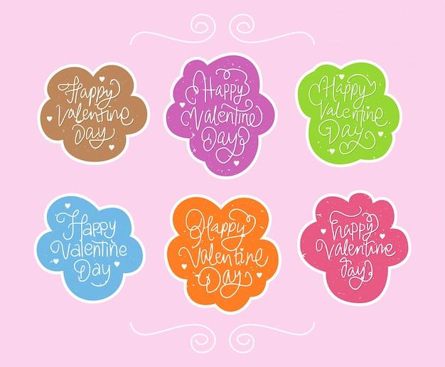 Raccolta dell'insieme variopinto dell'autoadesivo felice di giorno di s. valentino