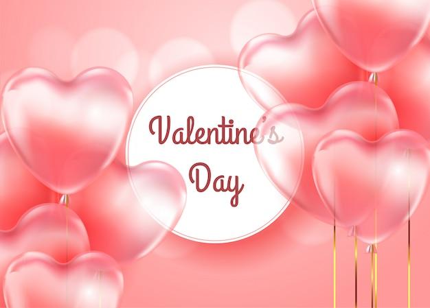 Carta regalo felice di san valentino con palloncini trasparenti di forme di cuore rosso 3d