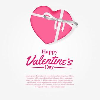 Cartolina d'auguri felice di giorno di s. valentino con il contenitore di regalo
