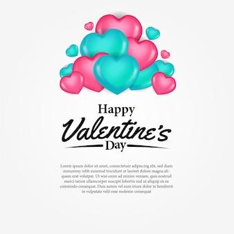 Cartolina d'auguri felice di giorno di s. valentino con il focolare rosa e verde