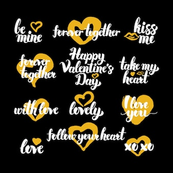 Citazioni disegnate a mano di buon san valentino. illustrazione vettoriale di lettere scritte a mano amore elementi di design.