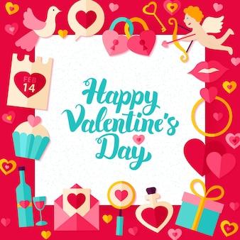 Modello di carta di buon san valentino. concetto di saluti di amore di stile piano dell'illustrazione di vettore con l'iscrizione.