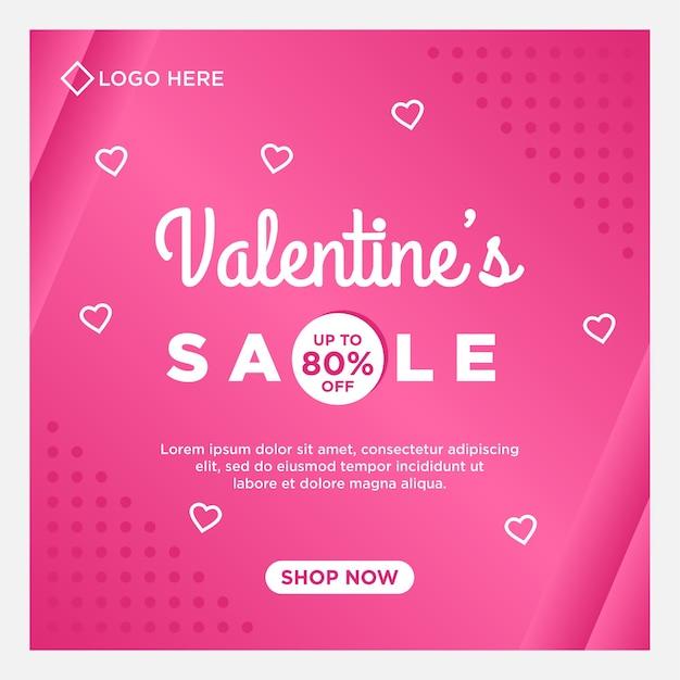 Modello di social media di vendita felice giorno di san valentino