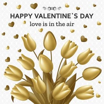 Buon san valentino con bouquet di tulipani. biglietto di auguri e modello di amore.