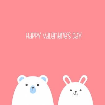 Buon san valentino con orecchie da coniglio e orso