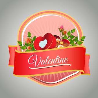 Felice etichetta di san valentino con scatola di cioccolato