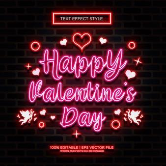 Effetti di testo neon happy valentine
