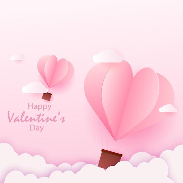 Carta di san valentino felice con palloncini ad aria calda cuore rosa volanti.