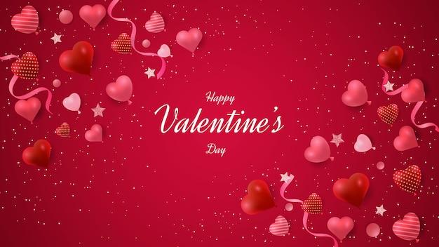 Buon disegno di sfondo di san valentino con forme di cuore