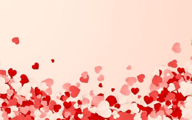 Buon san valentino sfondo, coriandoli di carta rosso, rosa e bianco cuori arancioni.