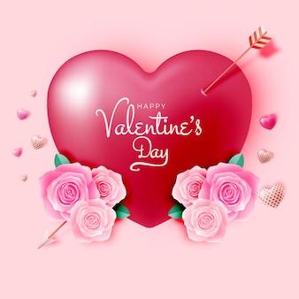 Felice giorno di san valentino sfondo con illustrazione di stile carino e adorabile