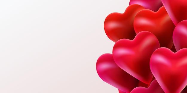 Buon san valentino sfondo con palloncini cuori lucidi volanti