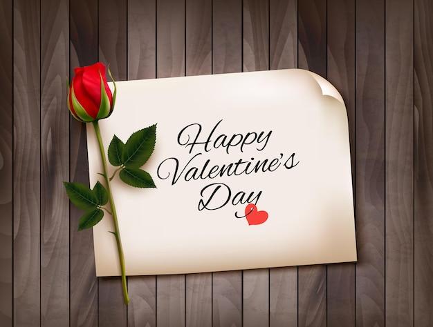 Buon san valentino sfondo con una nota su una parete in legno e una rosa rossa. vettore.