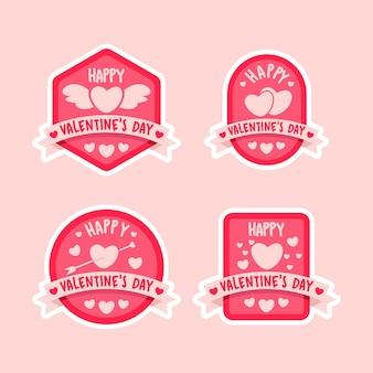 Distintivo di san valentino felice impostato in stile piatto
