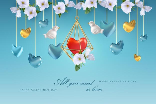 Felice banner di san valentino. composizione creativa di gabbia a forma di cristallo d'oro con cuore all'interno, uccelli bianchi e fiori