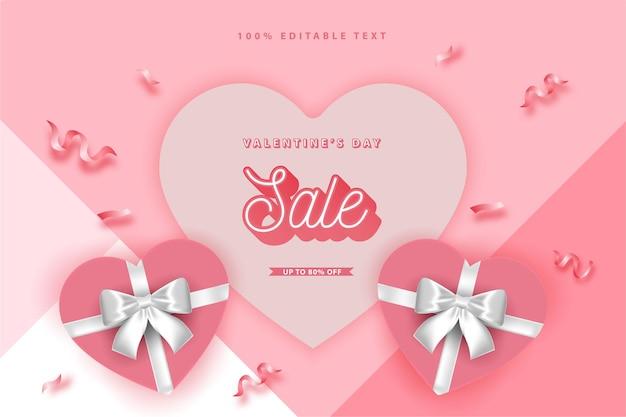 Felice banner di san valentino, scatola regalo amore con nastro stile realistico con effetto di testo modificabile