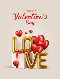 Cartolina d'auguri felice della bandiera di san valentino