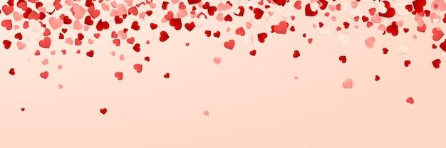 Buon san valentino banner, coriandoli di carta rossa, rosa e bianchi cuori arancioni.