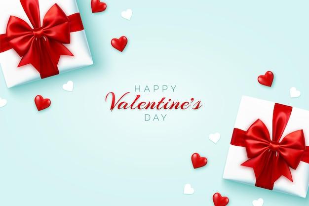 Felice banner di san valentino. scatole regalo realistiche con fiocco rosso e cuori di palloncini 3d rossi brillanti