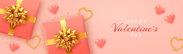Felice modello di banner di san valentino. scatole regalo realistiche con fiocco dorato,